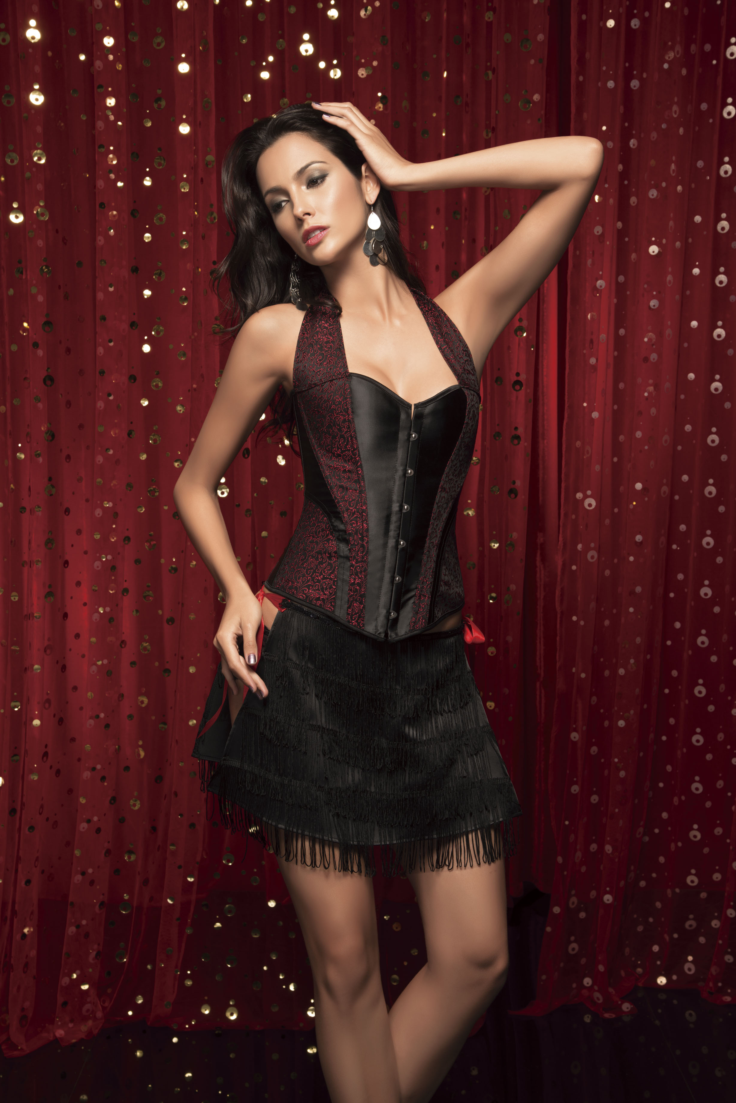 ff710f1f55b Satin Jaquard Pattern Embroidery Halter Corset Vacodo Lingerie