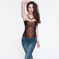 Satin PU Classic Royal Style Corset Brown
