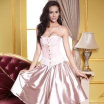 b0c70ce0e57 Satin Jacquard Steel Hook Corset Pink